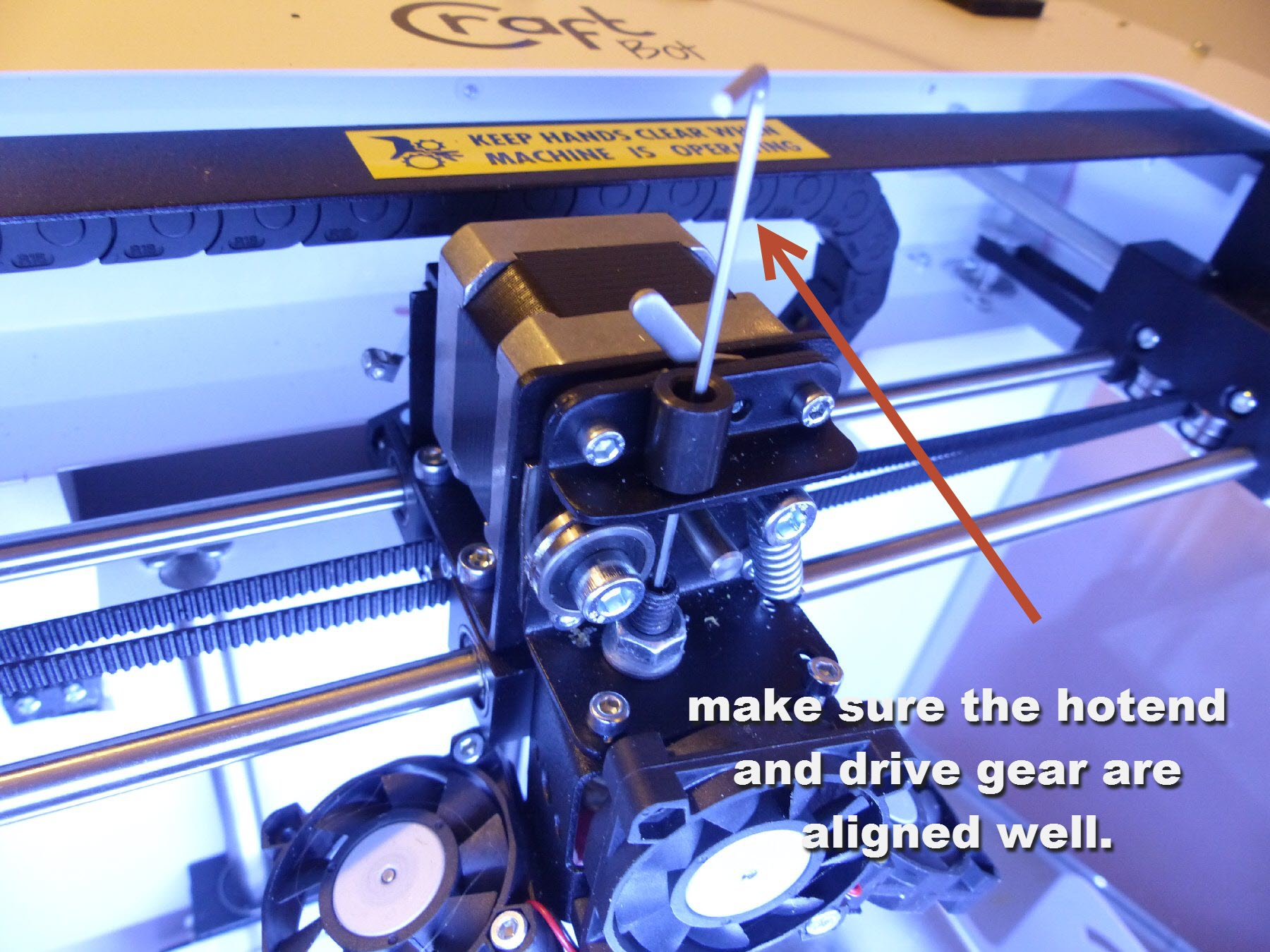 mini-18 check if the extruder and drive are inline