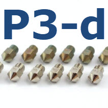 High quality P3-d Nozzles available. MK8 and E3d as well heavy duty for Carbon filled filament.